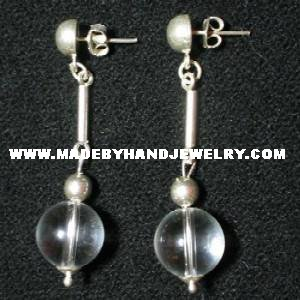 .950 Pure Silver Earrings with Clear Quartz