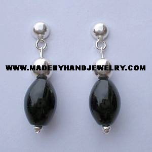 Handmade .950 Pure silver earrings with  Black Onyx