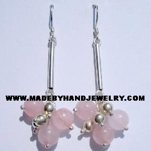 Handmade .950 Pure Silver Earrings with Pink Quartz