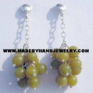 Handmade .950 Pure Silver Earrings with Serpentine