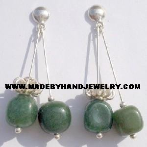Handmade .950 Pure Silver Earrings with Green Jade
