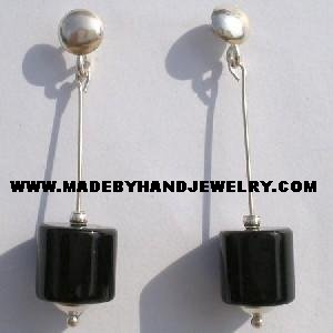 Handmade .950 Pure Silver Earrings with Black Onyx