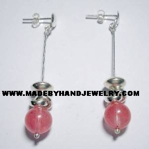 Handmade .950 Pure Silver Earrings with Rodocrocite