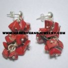 Handmade .950 Pure Silver Earrings with Red Coral