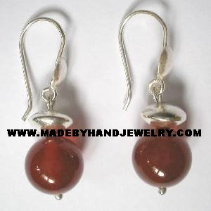 Handmade .950 Pure Silver Earrings with Brown Agate