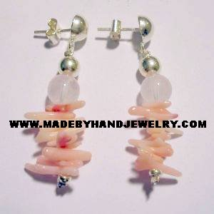 Handmade .950 Pure Silver Earrings with Pink Coral and Pink Quartz