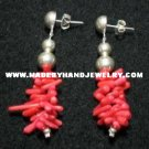 Handmade .950 Silver Earrings with Red Coral (gravel)