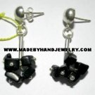 Handmade .950 Silver Earrings  with Black Onyx (gravel)