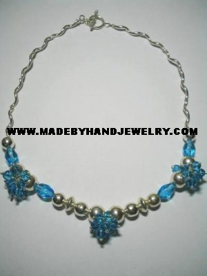 .950 Silver Necklace with Turqoise colored Murano *EMAIL SIZE FOR AVAILABILITY AND PRICE*