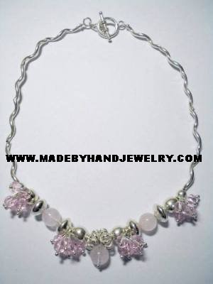 Handmade .950 Silver Necklace with Pink Quartz Stones and Pink Murano