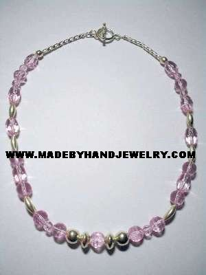 Handmade .950 Silver Necklace with Pink Colored Crystal Murano