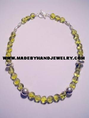 Handmade .950 Silver Necklace with Yellow Colored Murano