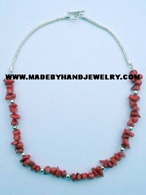 .950 Silver Necklace with Red Coral *EMAIL SIZE FOR AVAILABILITY AND PRICE*