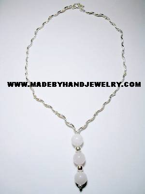 .950 Silver Necklace with Pink Quartz *EMAIL SIZE FOR AVAILABILITY AND PRICE*