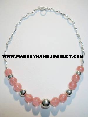 .950 Silver Necklace with Rodocrosite *EMAIL SIZE FOR AVAILABILITY AND PRICE*