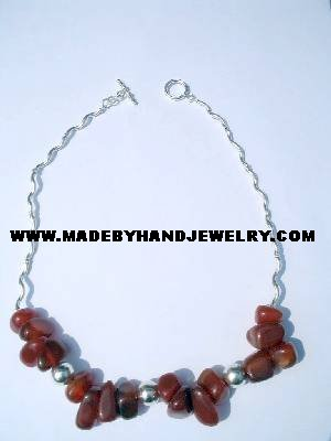 .950 Silver Necklace with Brown Agate *EMAIL SIZE FOR AVAILABILITY AND PRICE*