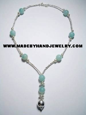 .950 Silver Necklace with Light Blue Agate *EMAIL SIZE FOR AVAILABILITY AND PRICE*