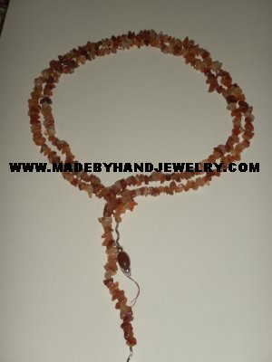 Handmade .950 pure silver necklace with brown agate