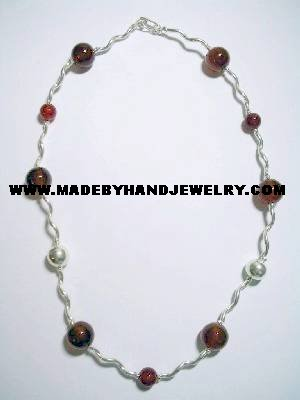 Handmade .950 Silver Necklace with Brown Agate