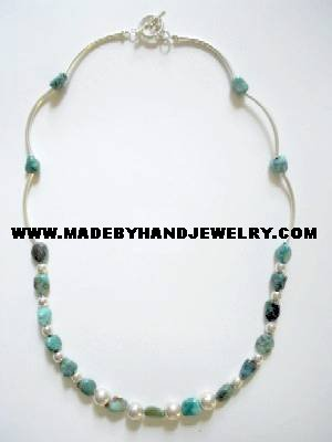 Handmade .950 Silver Necklace with REAL Peruvian Turqoise