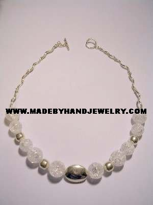 Handmade .950 Silver Necklace with Pink Quartz Crystal