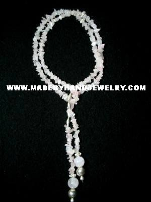 Handmade .950 Silver Necklace with REAL Pink Quartz