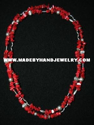 Handmade .950 Silver Double Wrap Necklace with REAL Red Coral
