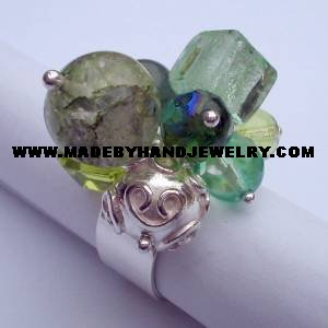 .950 Silver Ring w/ various colored Murano and Jade *EMAIL SIZE FOR AVAILABILITY AND PRICE*