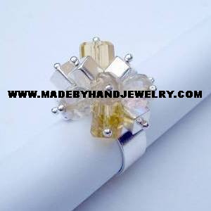 Handmade .950 Silver Ring with Crystal Colored Murano