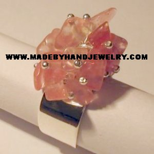 Handmade .950 Silver Ring with Rhodochrosite Stone