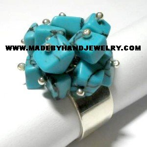 Handmade .950 Silver  Ring with Turqoise Stone