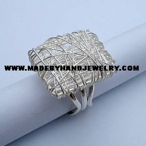 Rectanglar Silver Ring Made with .950 Silver Thread *EMAIL SIZE FOR AVAILABILITY AND PRICE*