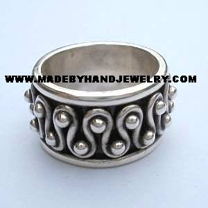 .950 Silver Ring with Wave Designs *EMAIL SIZE FOR AVAILABILITY AND PRICE*