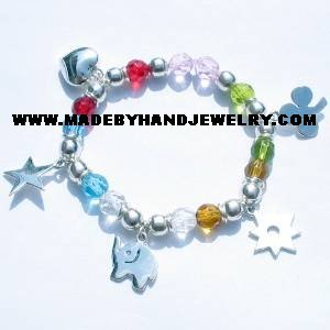 .950 Silver Bracelet with Various colored Murano and Charms *EMAIL SIZE FOR AVAILABILITY AND PRICE*