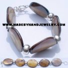 .950 Silver Bracelet with Large Oval Nacar *EMAIL SIZE FOR AVAILABILITY AND PRICE*