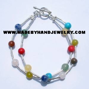 .950 Silver Bracelet with Various Colored Stones *EMAIL SIZE FOR AVAILABILITY AND PRICE*