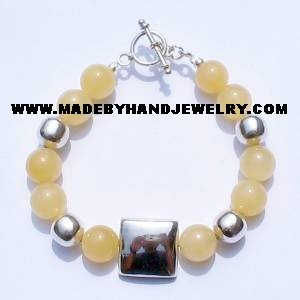 .950 Silver Bracelet with Yellow Agate *EMAIL SIZE FOR AVAILABILITY AND PRICE*