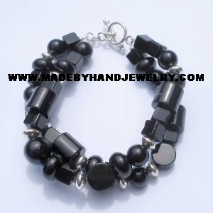 .950 Silver Bracelet with Black Onyx and Murano *EMAIL SIZE FOR AVAILABILITY AND PRICE*