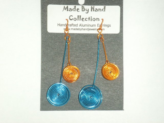 Double Circles Penny Copper/Electric Blue Aluminum Earrings -FREE SHIPPING-