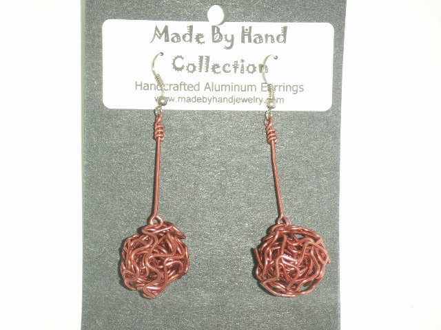 Deep Pink Weaved Ball Aluminum Earrings -FREE SHIPPING-