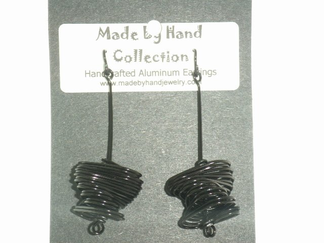 Midnight Black Twisted Oval Design Aluminum Earrings -FREE SHIPPING-