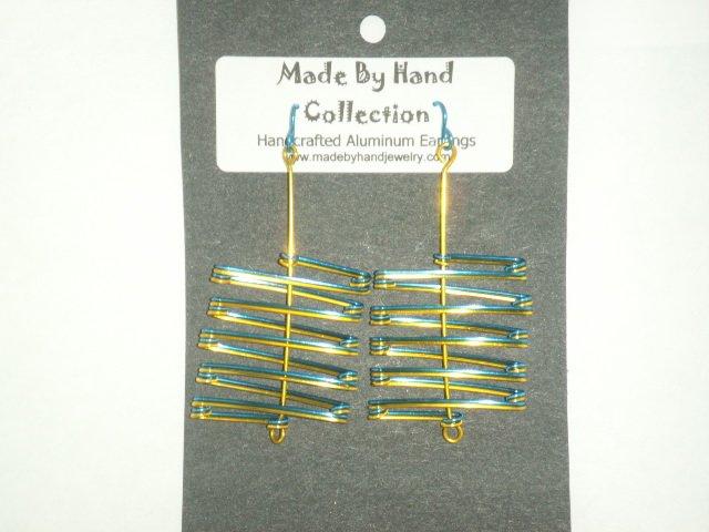 Electric Blue/Sunrise Yellow Zig Zag Design Aluminum Earrings -FREE SHIPPING-