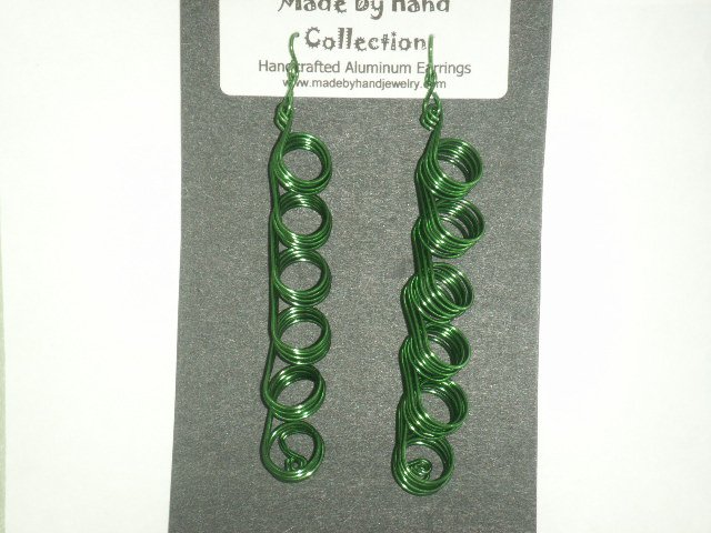 Forrest Green Long Circular Design Aluminum Earrings -FREE SHIPPING-