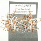 Mettalic Silver/Penny Copper 3D Twisting Star Design Aluminum Earrings -FREE SHIPPING-