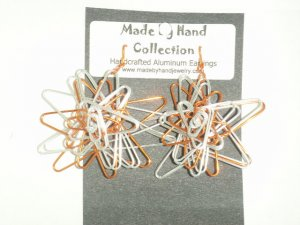 Mettalic Silver/Penny Copper 3D Twisting Star Design Aluminum Earrings -FREE SHIPPING-