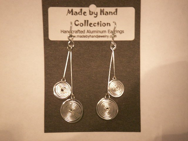 Metallic Silver Double Circles Design Aluminum Earrings -FREE SHIPPING-