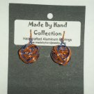Penny Copper/Skittle Purple Small Weaved Ball Design Aluminum Earrings -FREE SHIPPING-
