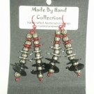 Wild Red/Metallic Silver/Midnight Black Double Linear Design Aluminum Earrings -FREE SHIPPING-