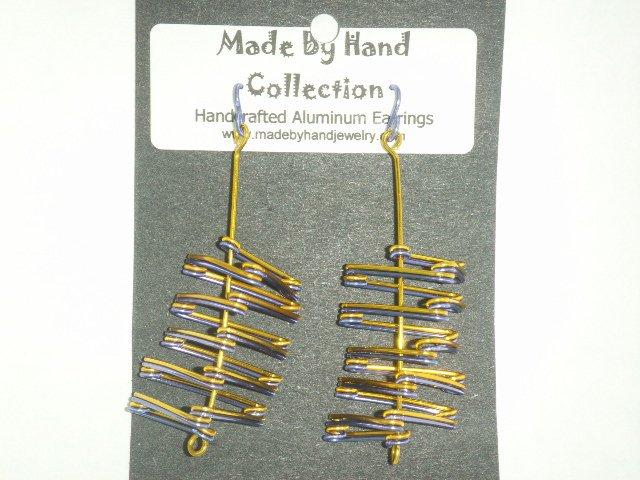 Sunrise Yellow/Skittle Purple Triangle Design Aluminum Earrings -FREE SHIPPING-