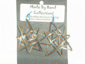 Sunrise Yellow/Electric Blue Double Star Design Aluminum Earrings -FREE SHIPPING-